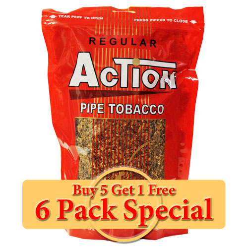 Action Regular Pipe Tobacco 16oz *Six Pack* Special