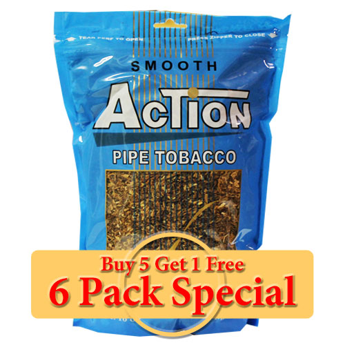 Action Smooth Pipe Tobacco 16oz *Six Pack* Special