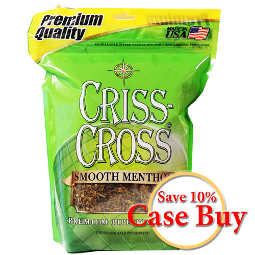 Criss Cross Smooth Menthol Pipe Tobacco 16oz Lgt Green - 12 Case