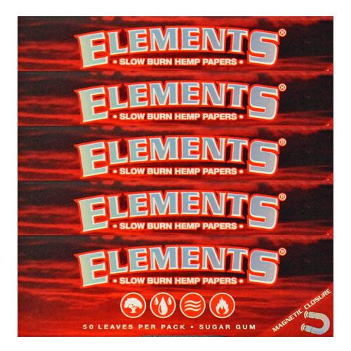 Elements 1 1/4 Slow Burn Hemp Rolling Papers 5 Pack