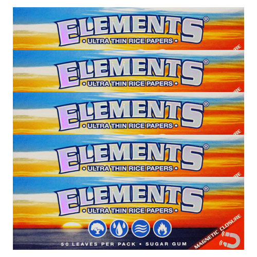 Elements 1 1/4 Ultra Thin Rice Rolling Papers 5 Pack