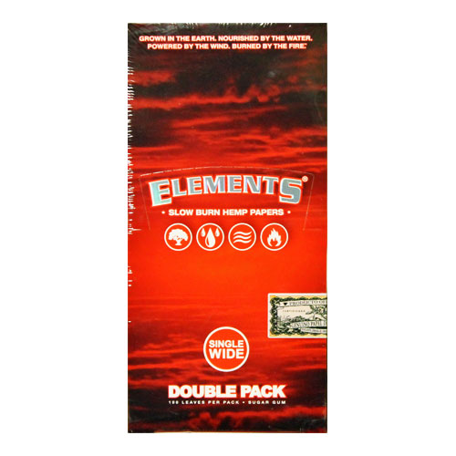 Elements Single Wide Slow Burn Hemp Rolling Papers 25ct Box