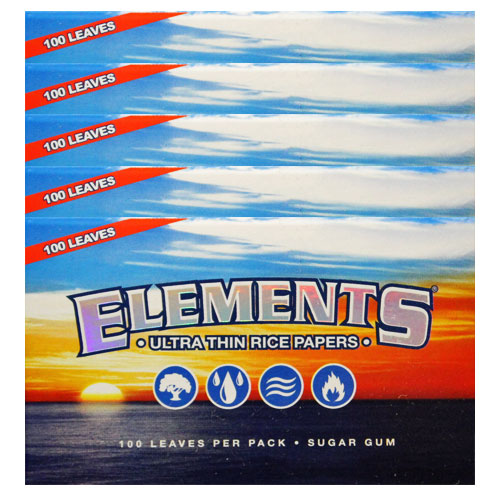 Elements Single Wide Ultra Thin Rice Rolling Papers 5 Pack