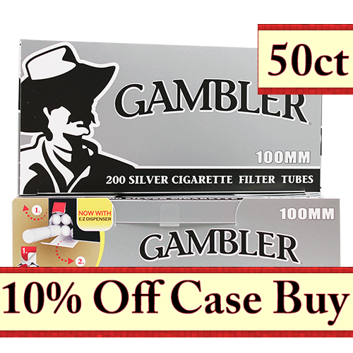 Gambler Silver 100mm Filter Tubes 200ct - 50ct Case