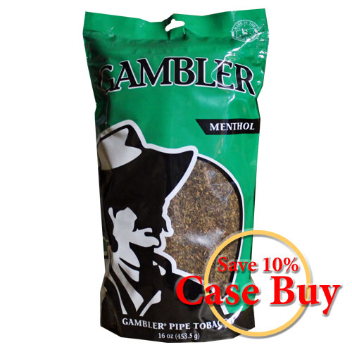 Gambler Menthol Pipe Tobacco 16oz Green Bag - 12ct Case