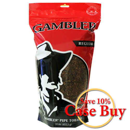 Gambler Regular Pipe Tobacco 16oz Red Bag - 12ct Case
