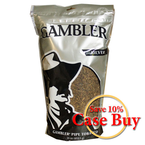 Gambler Silver Pipe Tobacco 16oz - 12ct Case