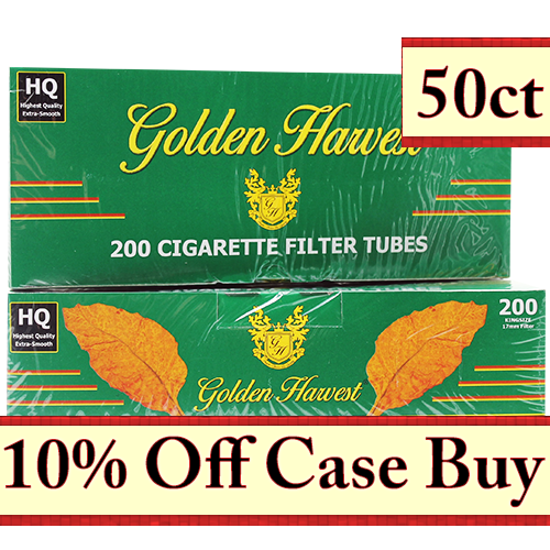 Golden Harvest Green King Size Filter Tubes 200ct - 50ct Case