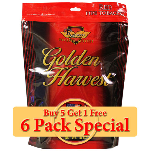 Golden Harvest Red Pipe Tobacco 16oz *Six Pack* Special