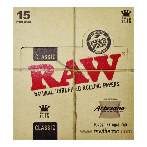 RAW Kingsize Slim Artesano Natural Rolling Papers 15ct Box
