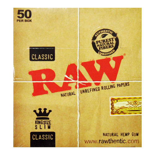 RAW Kingsize Slim Classic Natural Rolling Papers 50ct Box