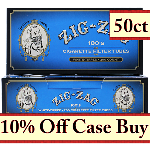 Zig Zag White Tipped 100mm Cigarette Tubes 200ct - 50ct Case