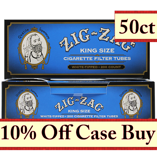 Zig Zag White Tipped King Size Cigarette Tubes 200ct - 50ct Case