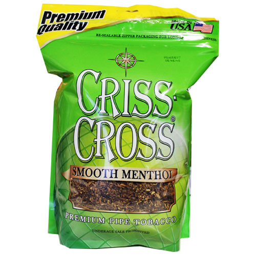 Criss Cross Smooth Menthol Pipe Tobacco 16oz Light Green Bag